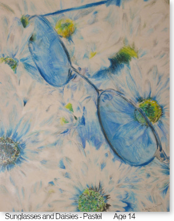 Sunglasses and Daisies, Pastel by Nara Pilgrim Wood