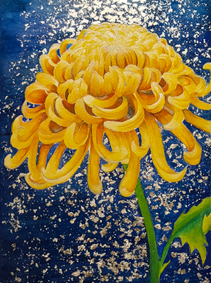 Watercolor painting of Chrysanthemum set in front of a night ocean scene, the water and moon shimmering in the background adorned with fine silver leaf.