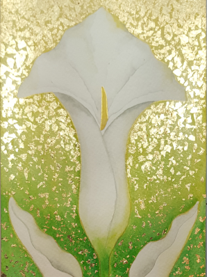 Watercolor painting of Calla Lily in deco style, surrounded by 24k gold leaf.
