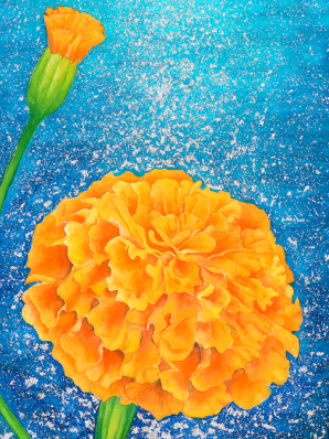 Watercolor painting of marigolds adorned with 24k gold leaf.