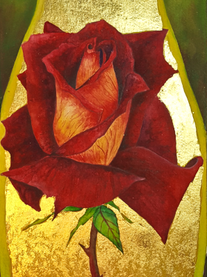 Watercolor painting of deep red rose surrounded in 24k gold leaf.