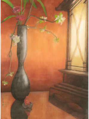 Watercolor painting on silk of ikebana arrangement illuminated by a Japanese lantern with small carving of Buddha in foreground.