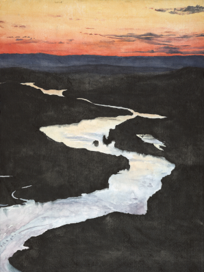Watercolor painting of a photo taken by Michael Kodas of a New Hampshire sunset.