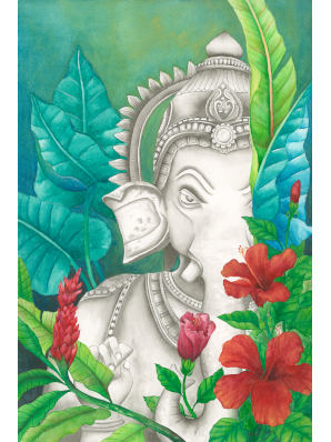 Painting of Hindu god Ganesh in sumi ink surrounded by brightly colored watercolor flowers and foliage.