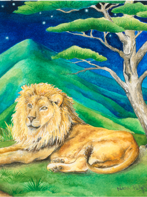 Watercolor painting of African lion in contemplative repose in a pure land.