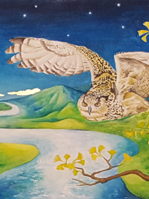 Watercolor painting of Eurasian Eagle Owl in flight through the Pure Land