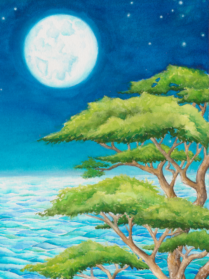A large koa tree stands on a cliff overlooking the tide of the South Pacific. The night sky holds a full moon, the Milky Way shining above.