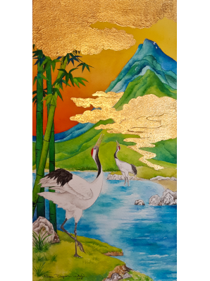 Watercolor painting of two red-crowned cranes set in marshlands in front of mountains in sunset, clouds in 24k gold leaf.