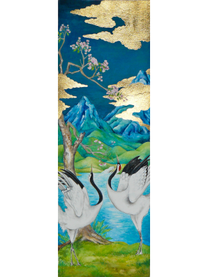 Watercolor painting of three red-crowned cranes set in marshlands in front of mountains in sunset, clouds in 24k gold leaf.