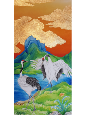 Watercolor painting of two red-crowned cranes in mating dance in front of mountains in sunset, clouds in 24k gold leaf.