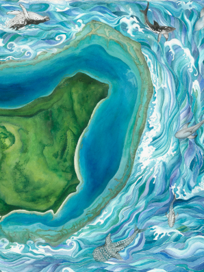 Watercolor painting of Fijian island, aerial view high above island with whales and sharks circumnavigating the island.