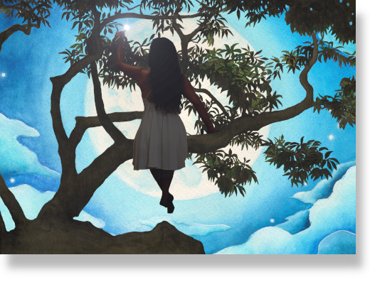 Composite showing Nara sitting in a Portland Gardens tree while painting the moon.