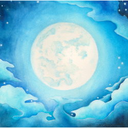 The Moon, Watercolor Painting for Jack Irons' Dream of Luminous Blue