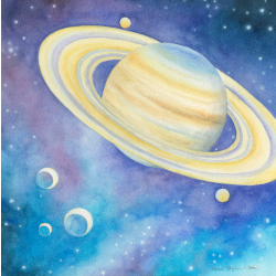 Saturn, Watercolor Painting for Jack Irons' Dream of Luminous Blue